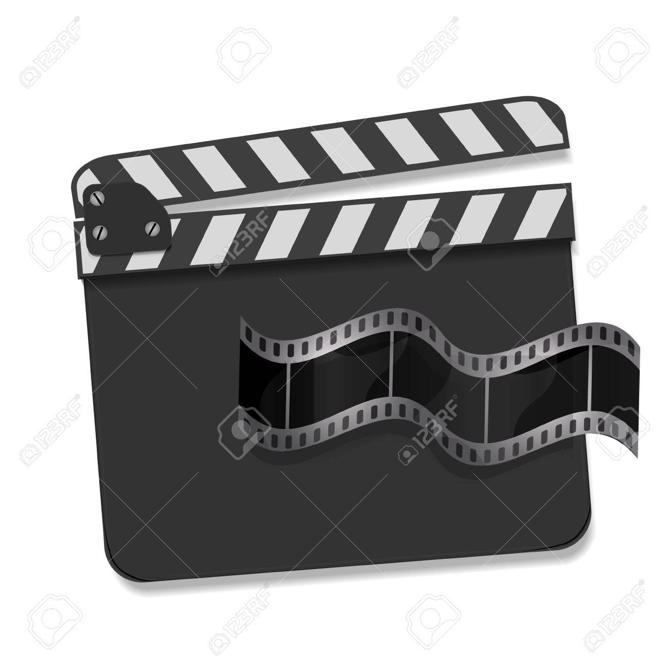 Vector  clapperboard with waving film Stock Vector - 15045860