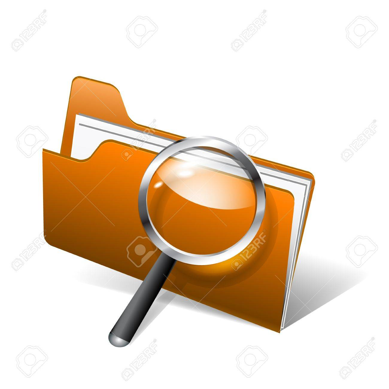 Vector glossy search folder icon with magnifying glass Stock Vector - 17826974