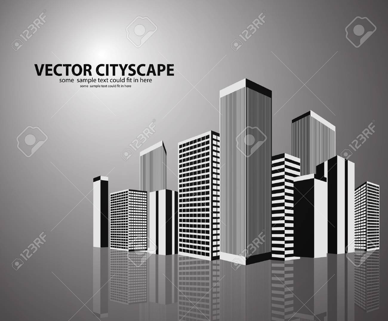 Vector 3d cityscape on shiny background Stock Vector - 17826948