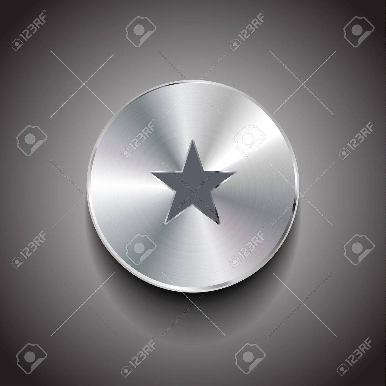 Vector star brushed metal button Stock Vector - 17827299