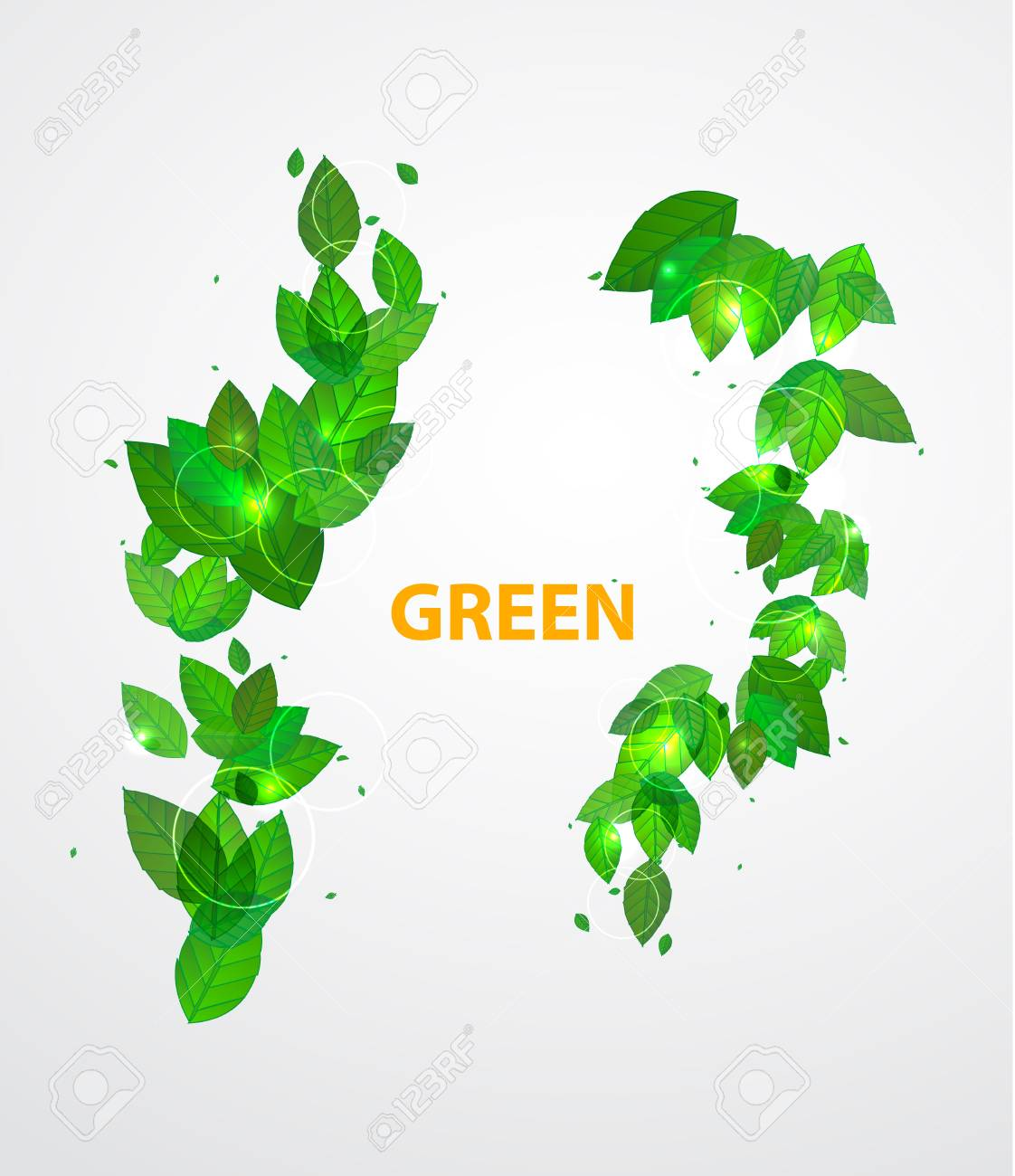 Shiny green leaves background Stock Vector - 17863574