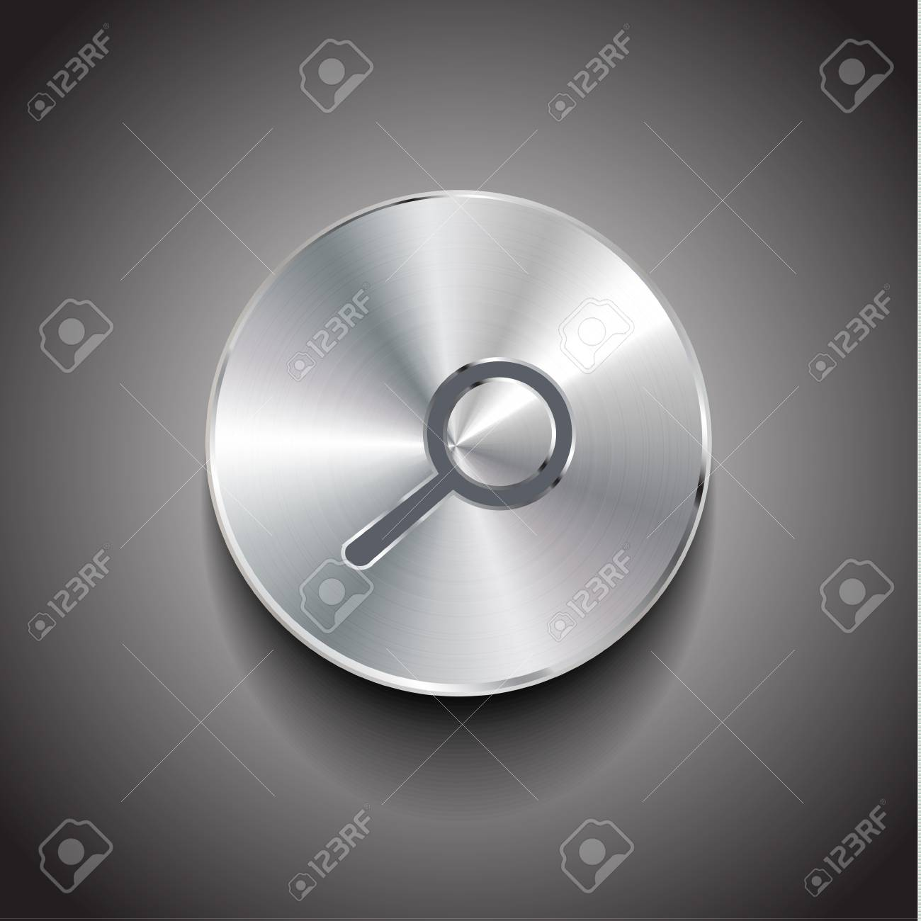 Vector search brushed metal button Stock Vector - 18053674