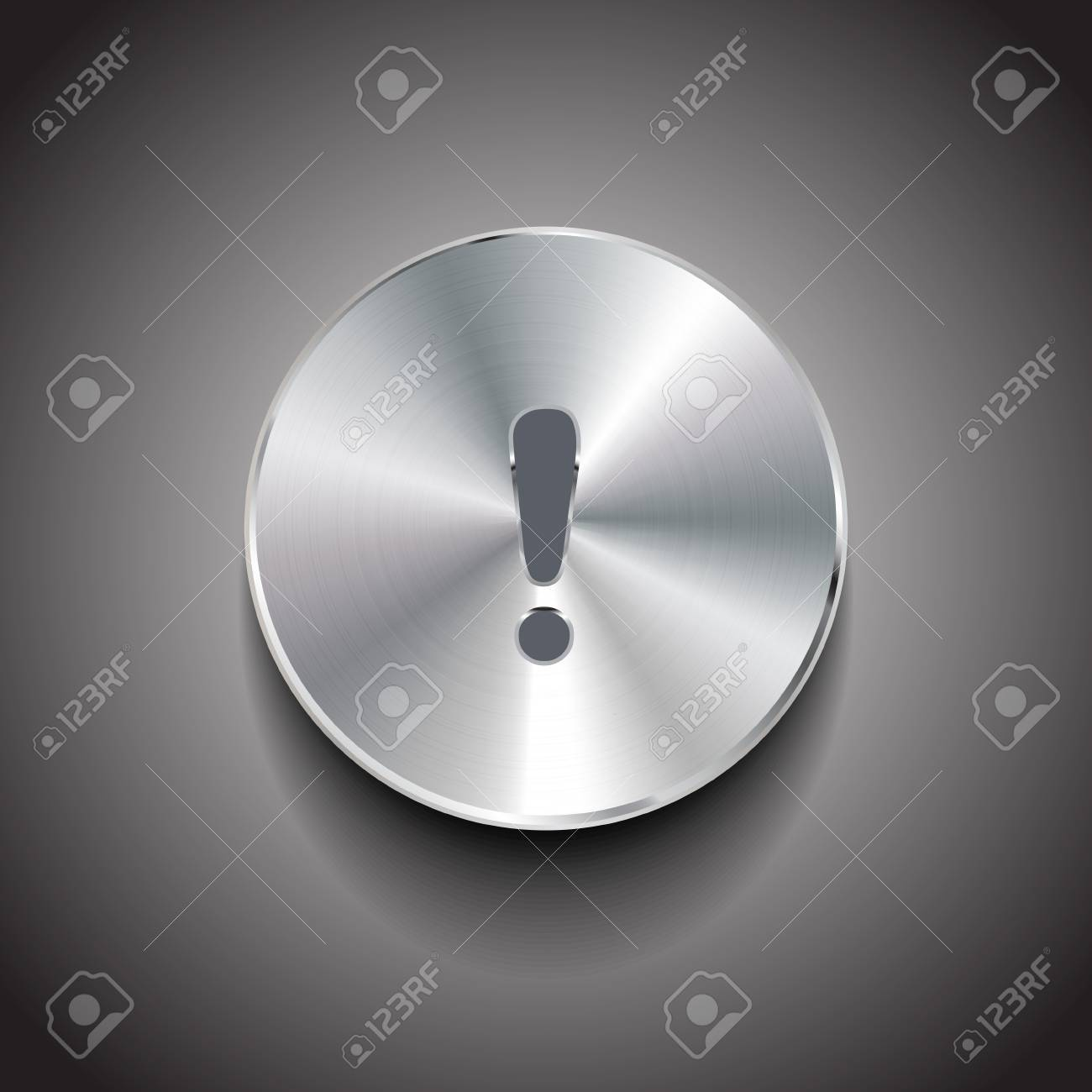 brushed metal exclamation mark button Stock Vector - 18252117