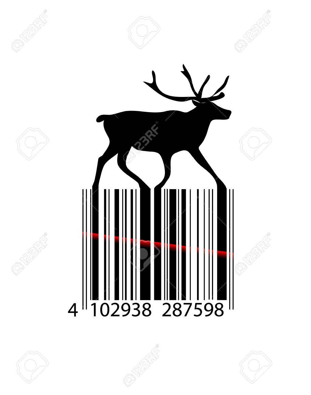 Noir Et Blanc De Renne De Noël Code à Barres