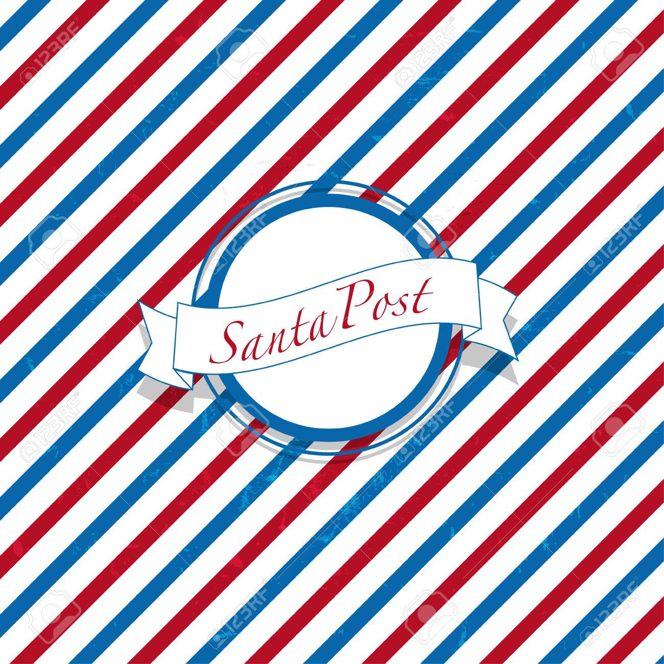 Christmas Santa Post Red And Blue Mail Background Stock Photo ...