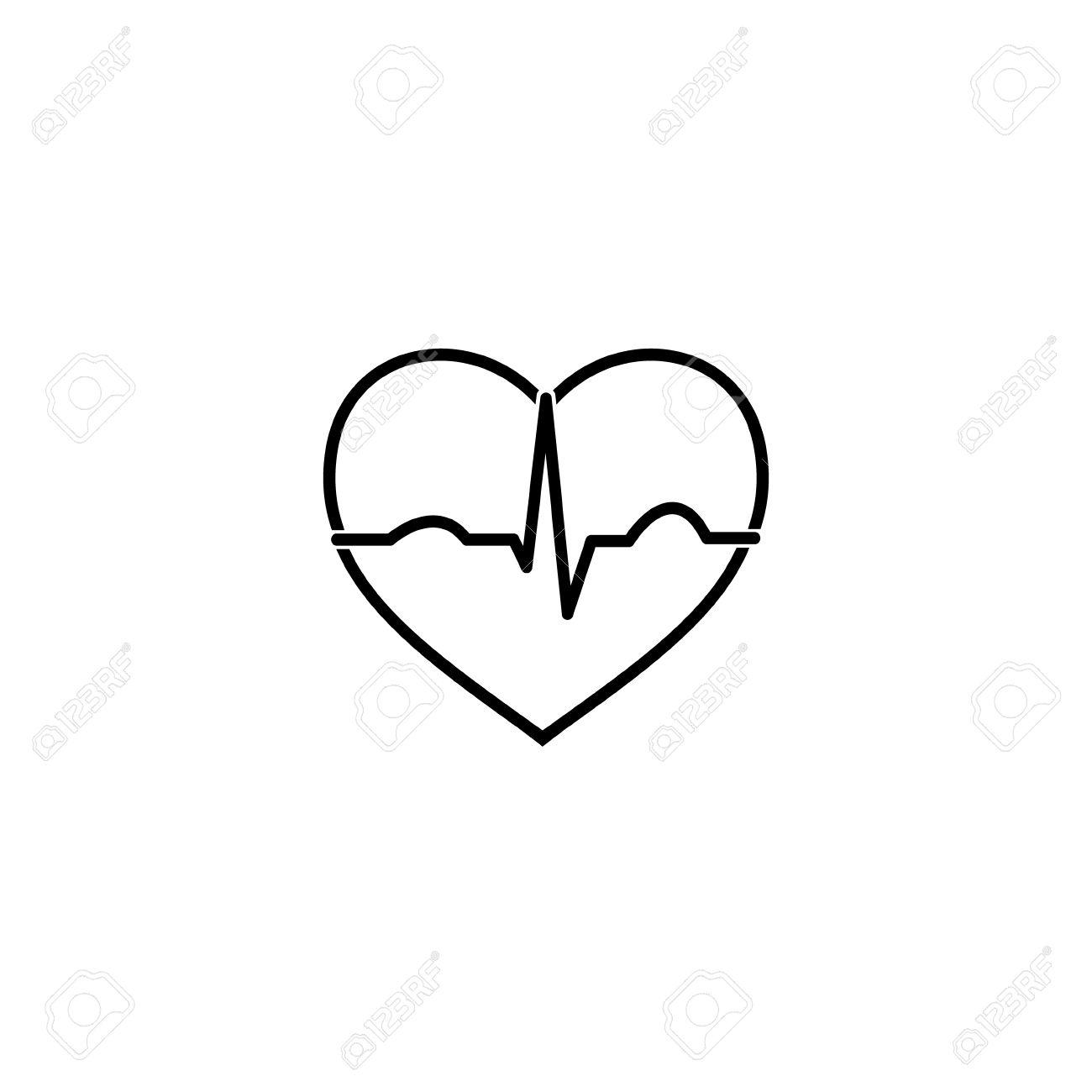 Image Coeur Noir Et Blanc minimal icône ecg coeur noir et blanc clip art libres de droits