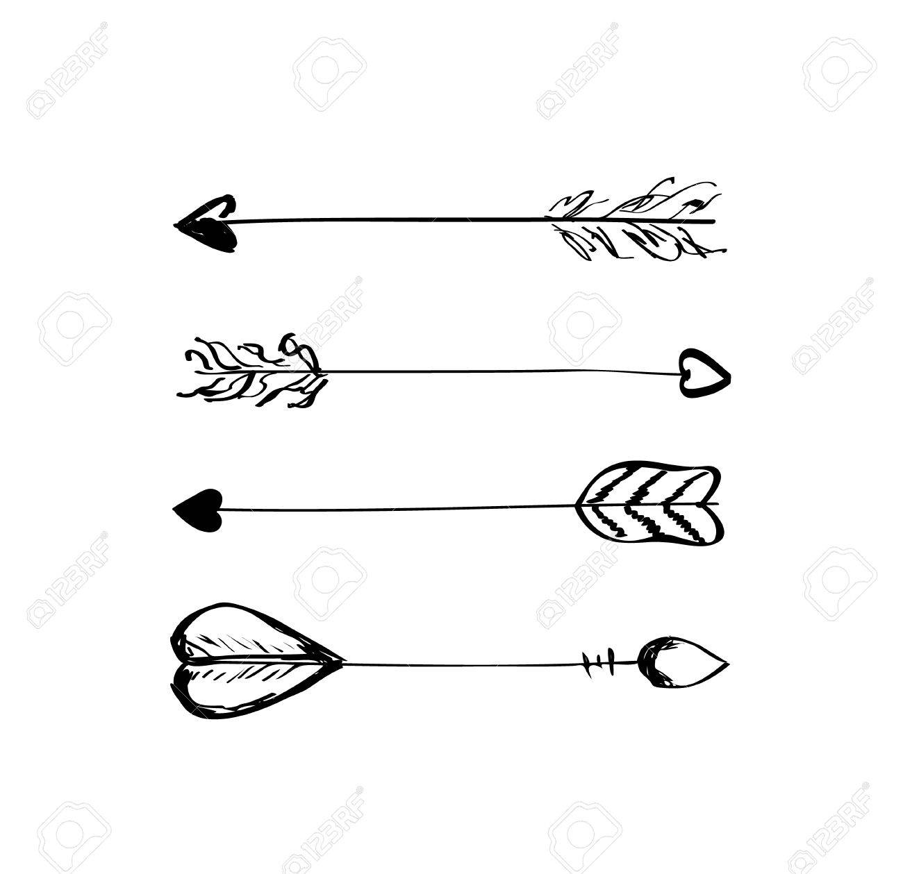 Hand Drawn Vector Arrows With Feathers Doodle Elements Royalty Free Cliparts Vectors And Stock Illustration Image 47067840