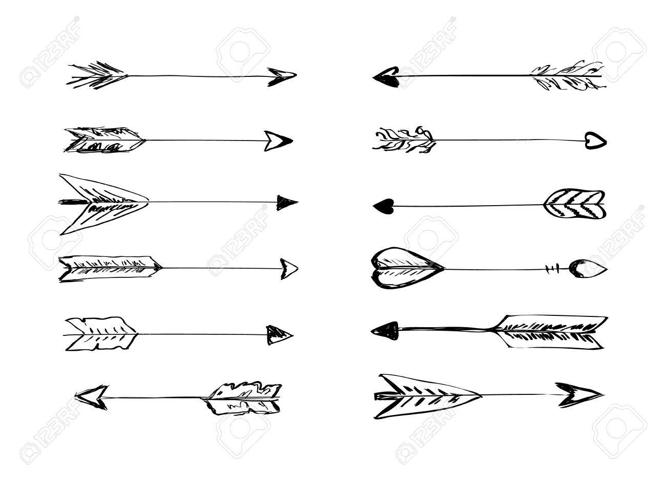 Hand Drawn Vector Arrows With Feathers Doodle Elements Royalty Free Cliparts Vectors And Stock Illustration Image 47067842