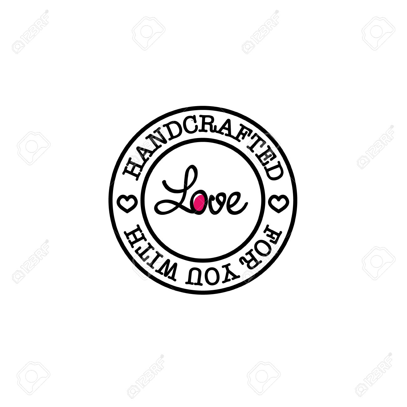 Hand-made for you with love retro badge design - 51361435