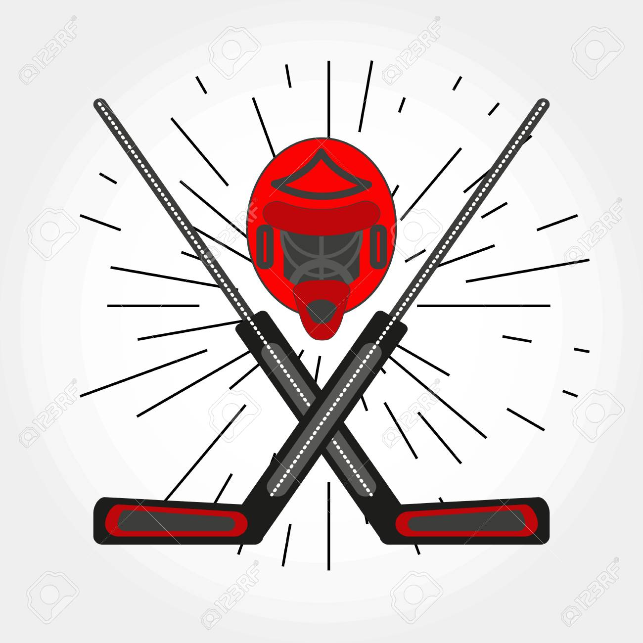 Hockey Goalkeepers Helmet And Crossed Sticks Icon Vector Hockey