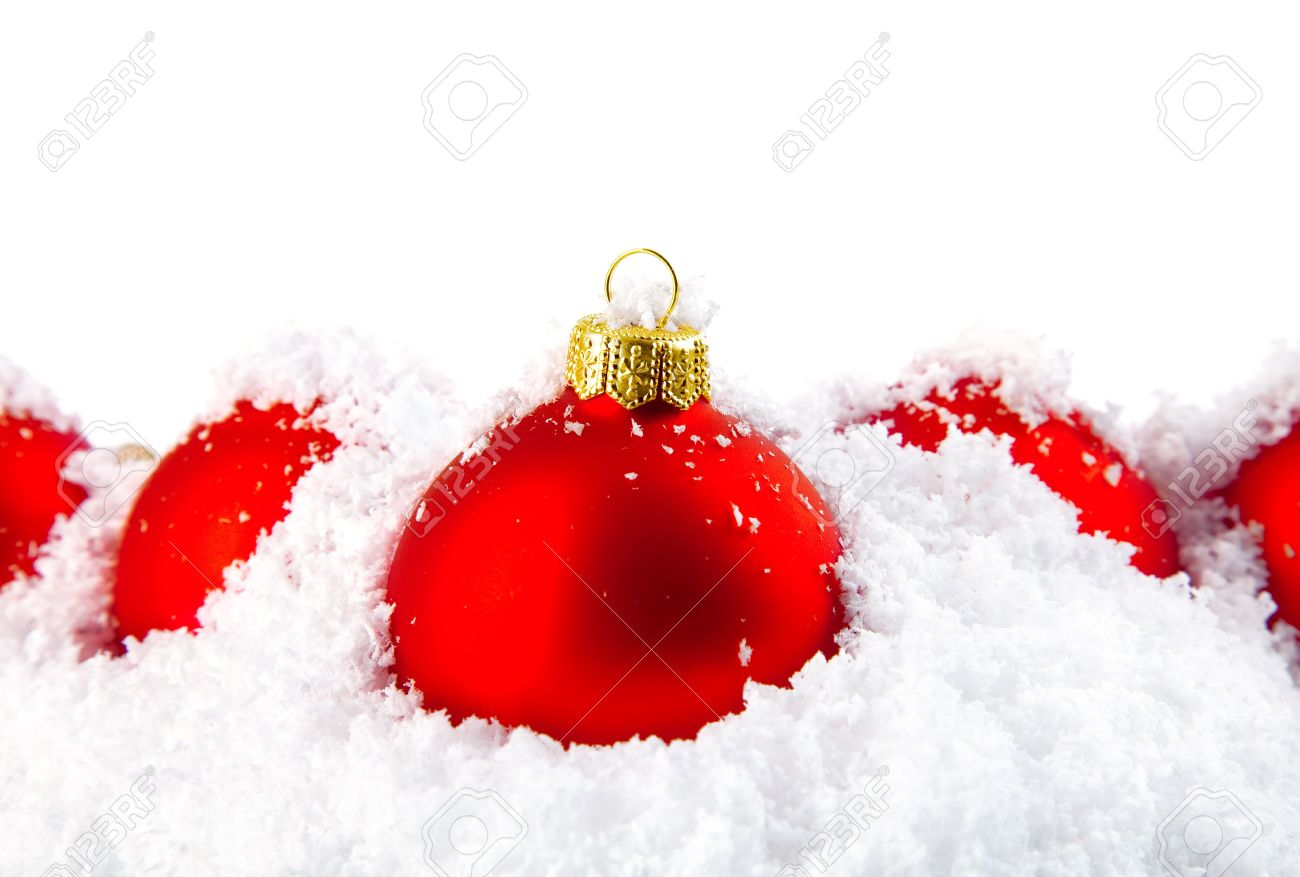 Christmas Holiday Decoration With White Snow And Festive Red