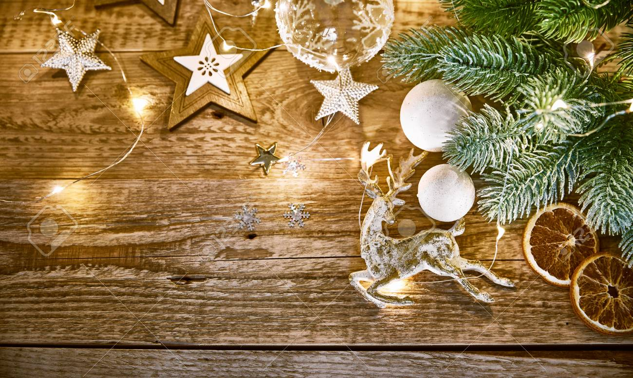Christmas Card With Branch Fir Snow And Glass Ball On Old Wooden ...