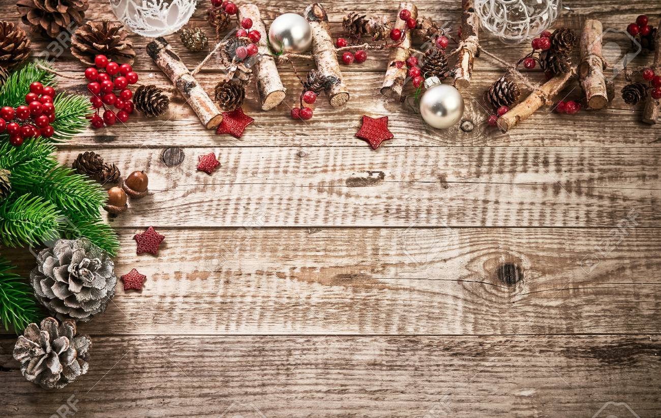 Christmas Card With Firtree Pinecone And Glass Balls On Old Wooden ...