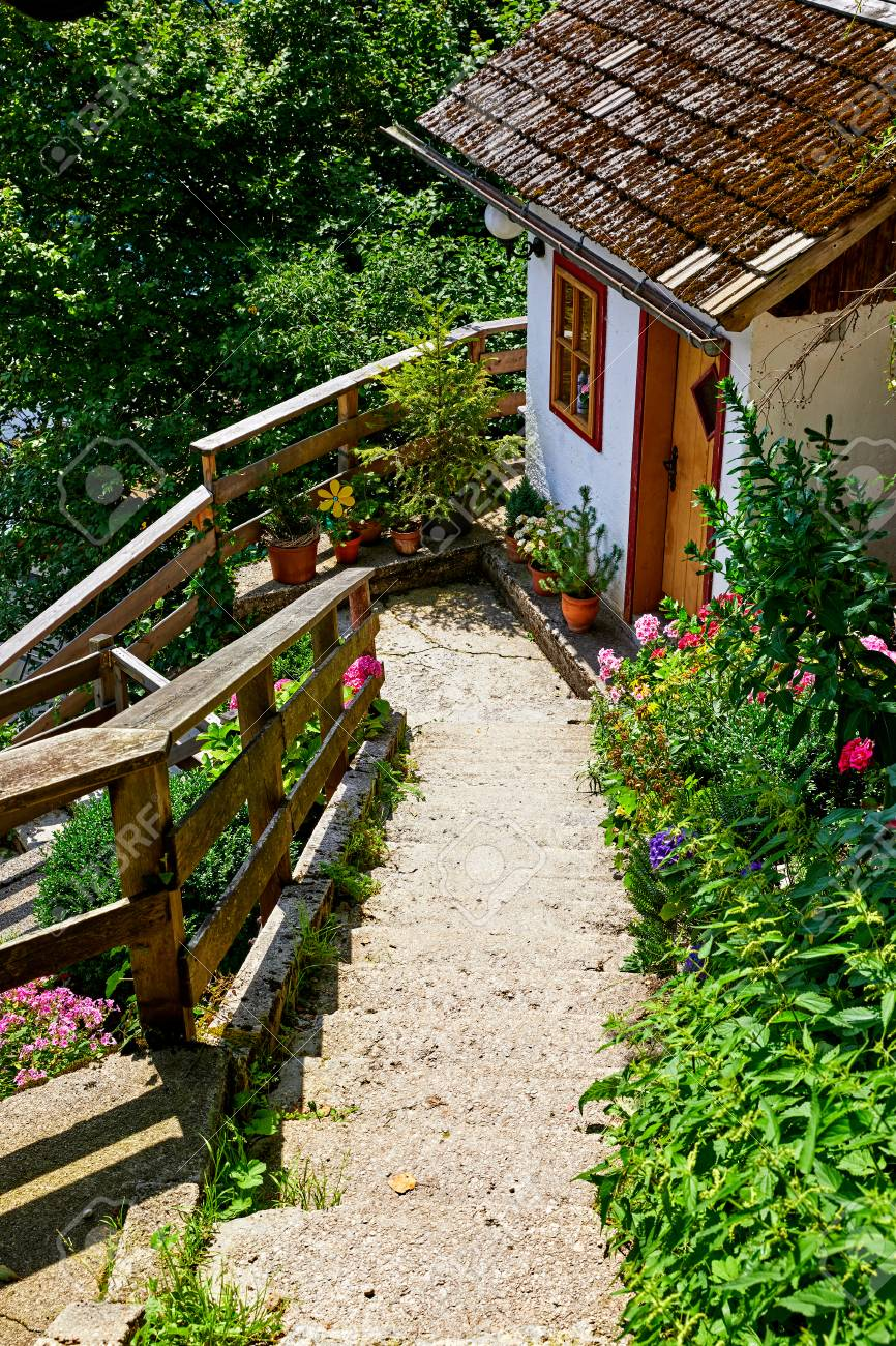 Hallstatt Austria Stone Stairs Among Narrow Antique Streets And Traditional Austrian Houses On Slopes
