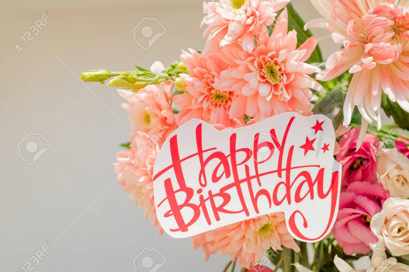 Soft Pink Chrysanthemums And Happy Birthday Posterautiful Stock
