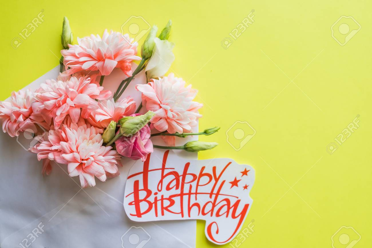 soft pink chrysanthemums and happy birthday poster.beautiful..