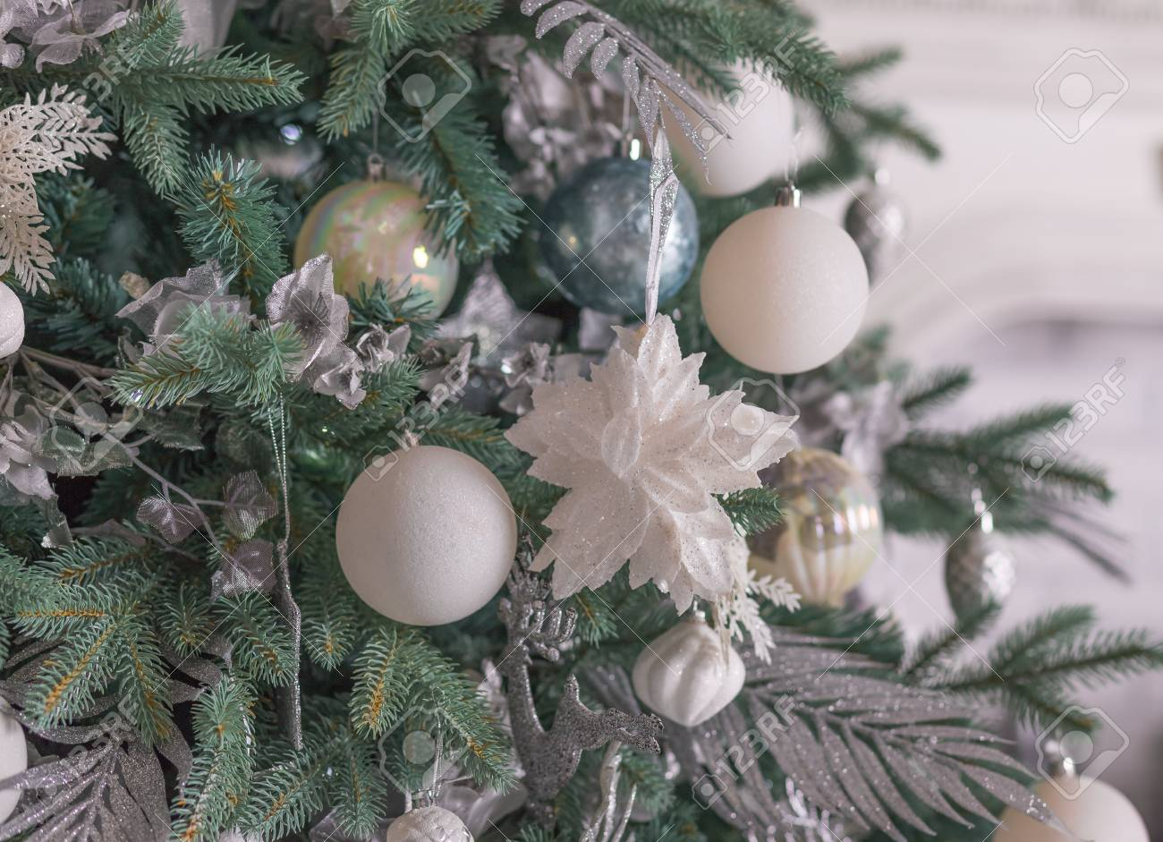 Expensive Christmas Ornaments.Silver Christmas Ornaments Hanging On Fir Tree Section Of A Christmas