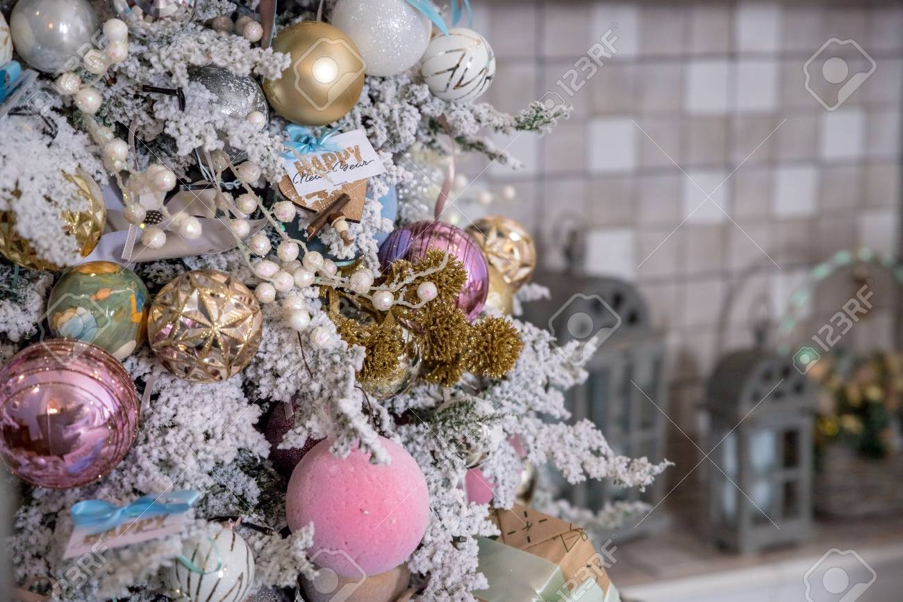 Close Up Of Christmas Tree Decoration With Gold Silver Pink Stock Photo Picture And Royalty Free Image Image 115073706