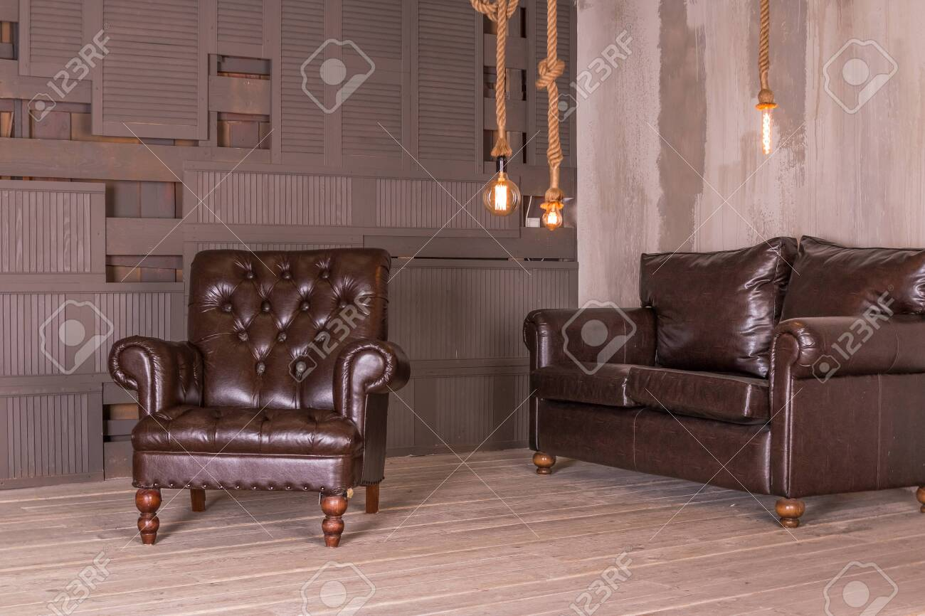 Pleasing Brown Leather Armchair And Vintage Leather Sofa Interior Composition Retro Dailytribune Chair Design For Home Dailytribuneorg