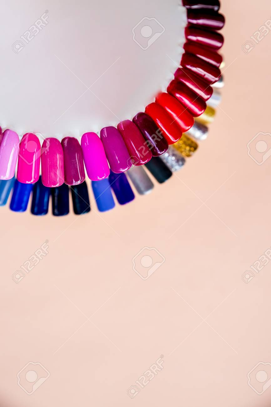 Nail polish samples in different bright colors. Colorful nail..