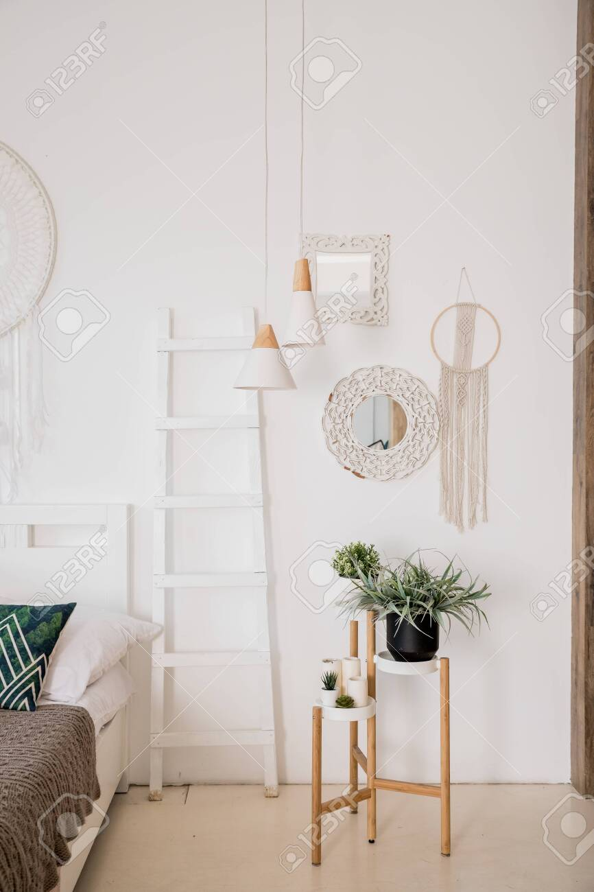 Modern Boho Interior Of Living Room At Cozy Apartment Minimalistic Stock Photo Picture And Royalty Free Image Image 128018872