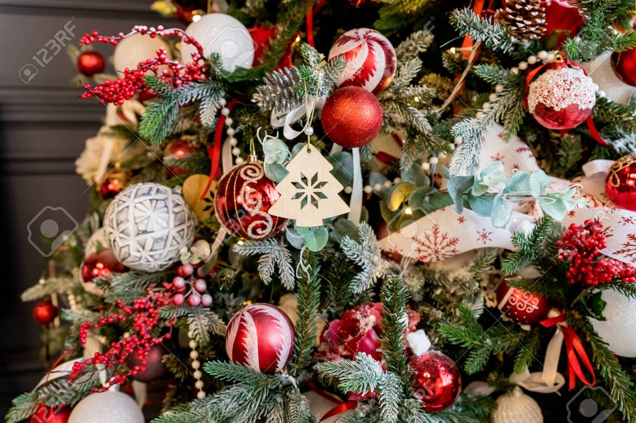 Modern Christmas Tree Decorated With Vintage Ornaments Ratan Stock Photo Picture And Royalty Free Image Image 135355914