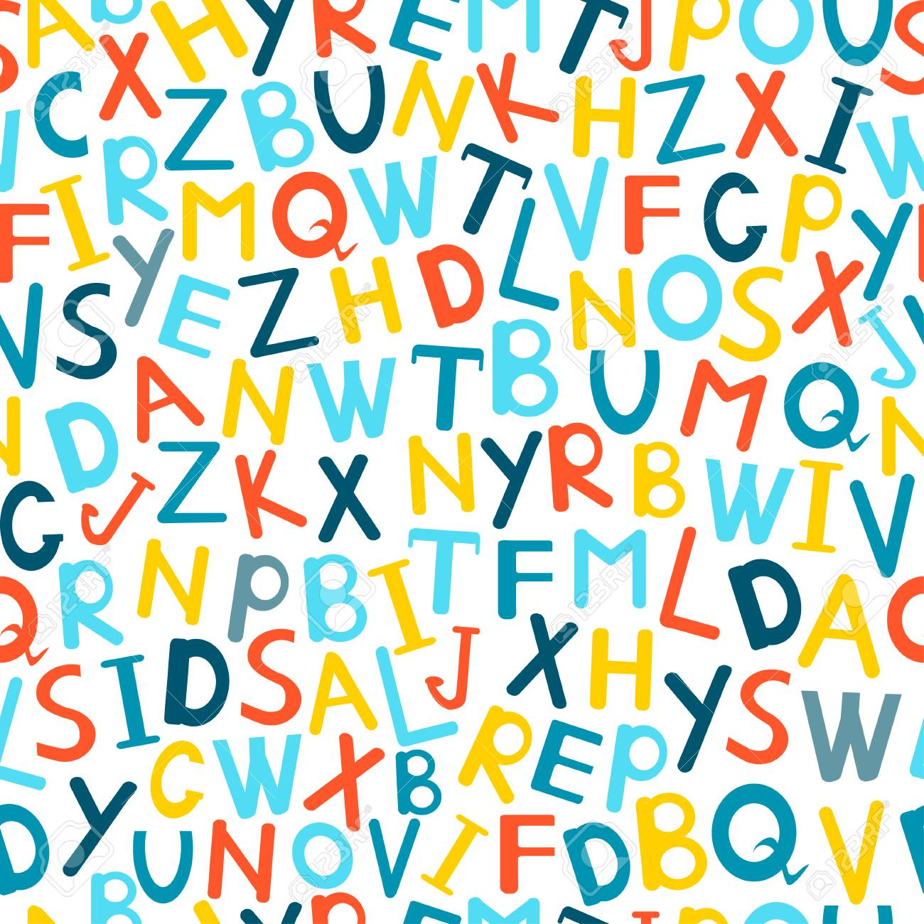 Alphabet seamless pattern  Doodle letters background  Colorful
