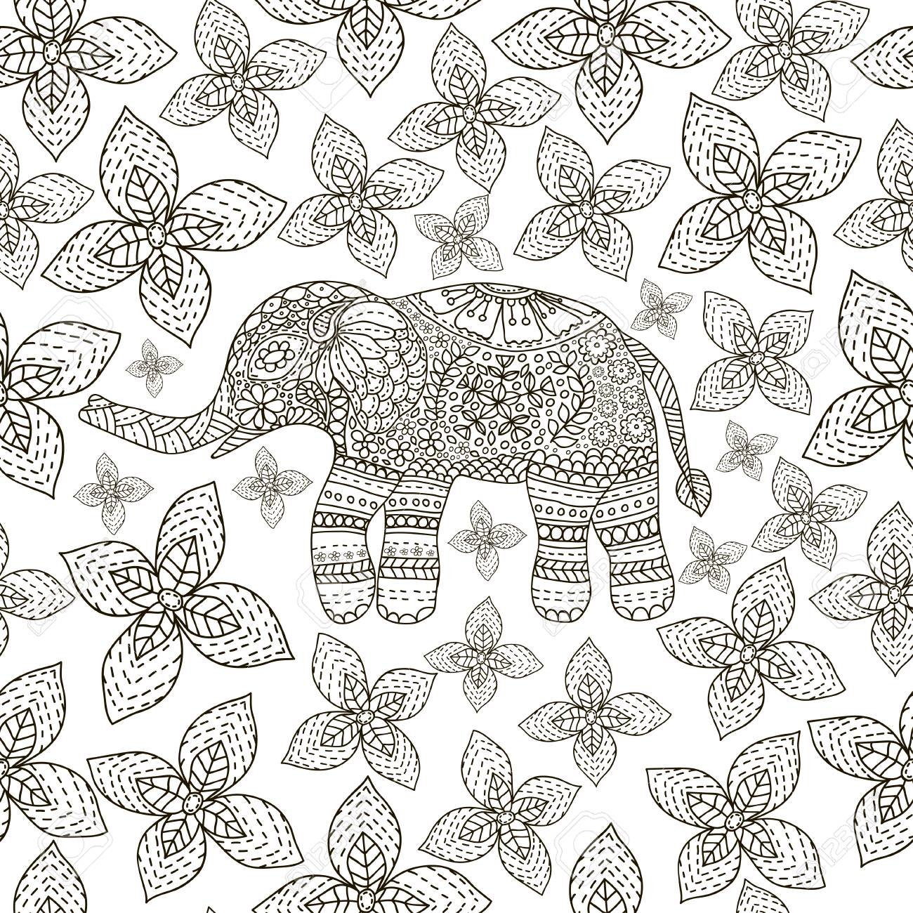 Hand Drawn Elephant With Ethnic Floral Doodle Pattern. Coloring ...