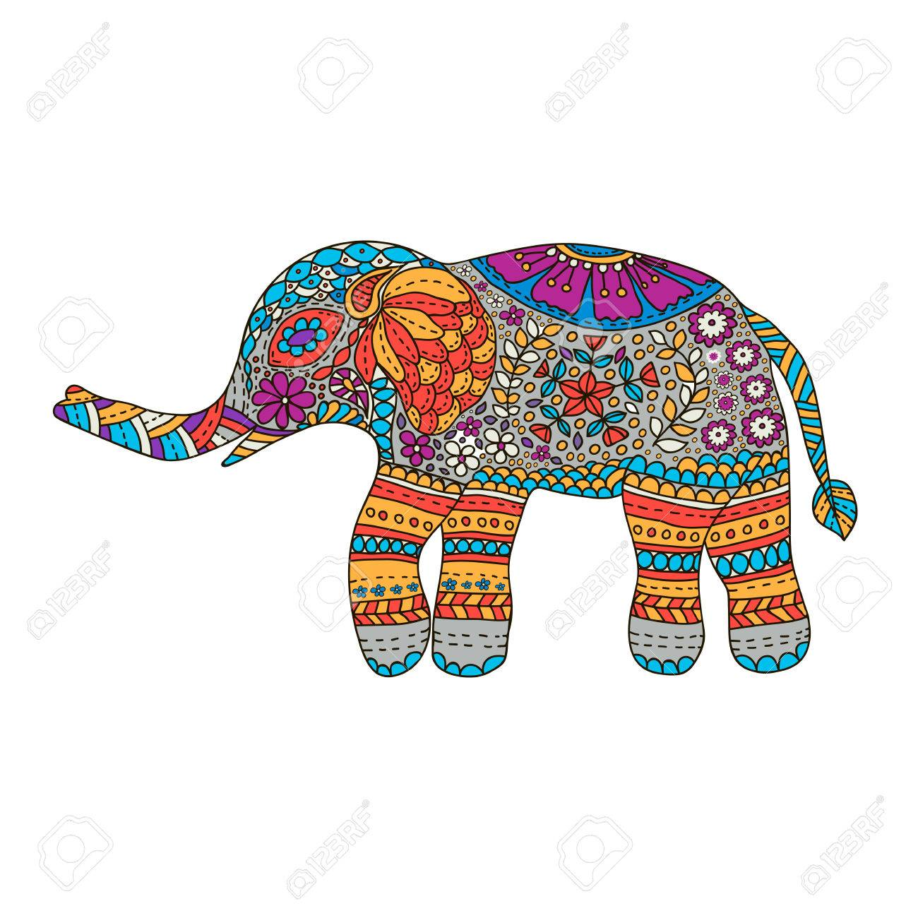 - Hand Drawn Colorful Elephant With Ethnic Floral Doodle Pattern