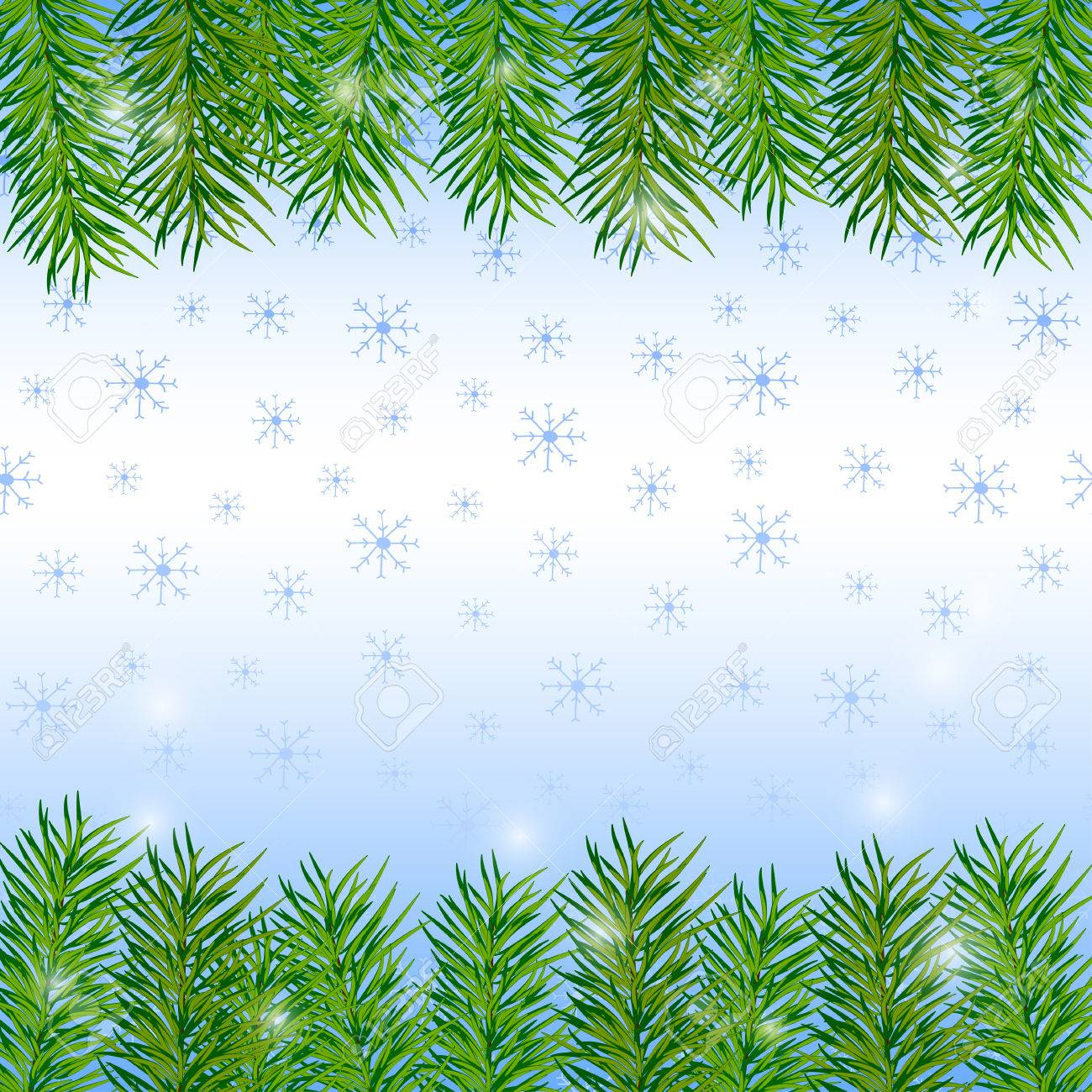 christmas and new year background with pine branches and snowflakes vector illustration stock vector