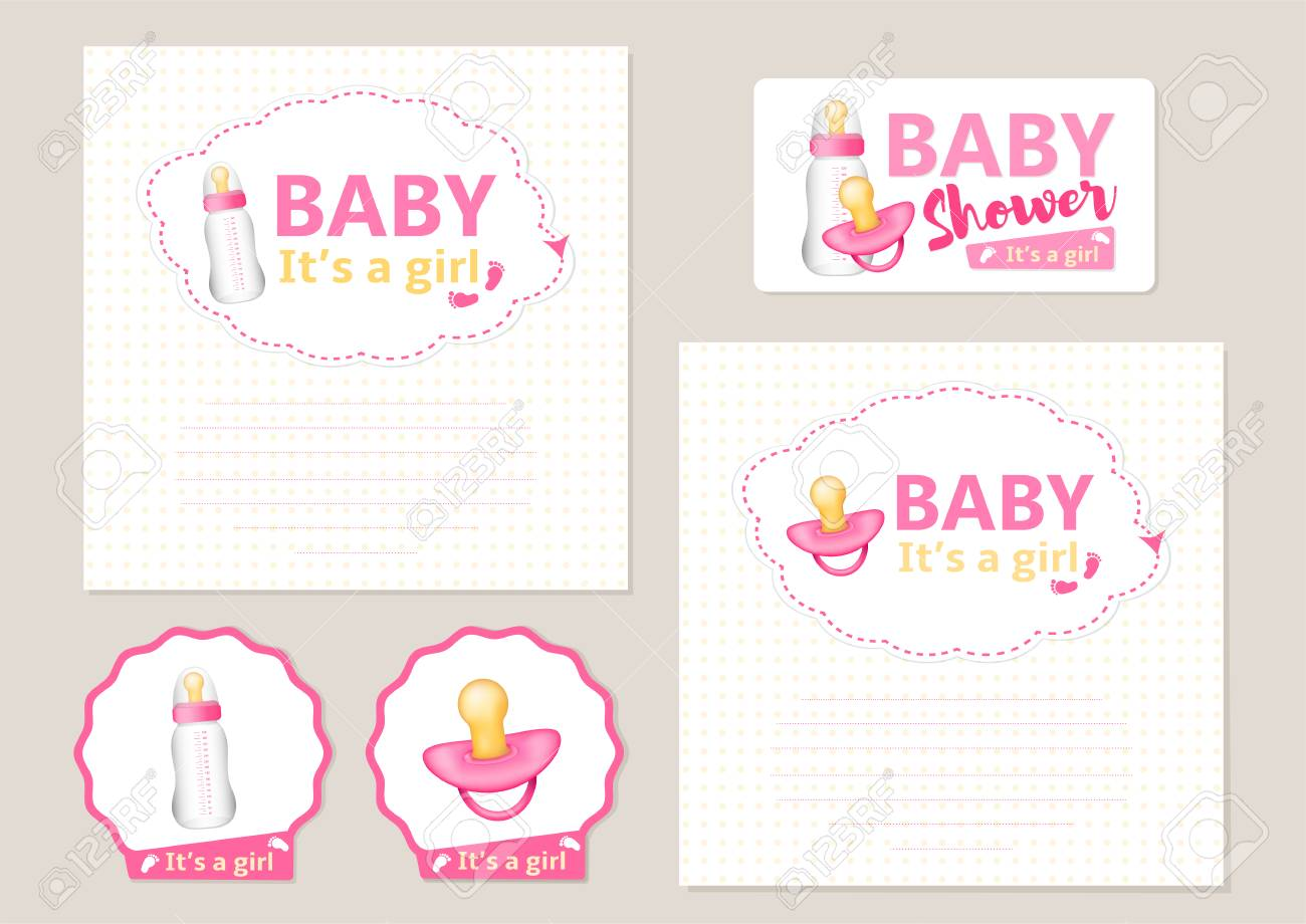 Baby Shower Set For The Girl With Realistic Pink Pacifier