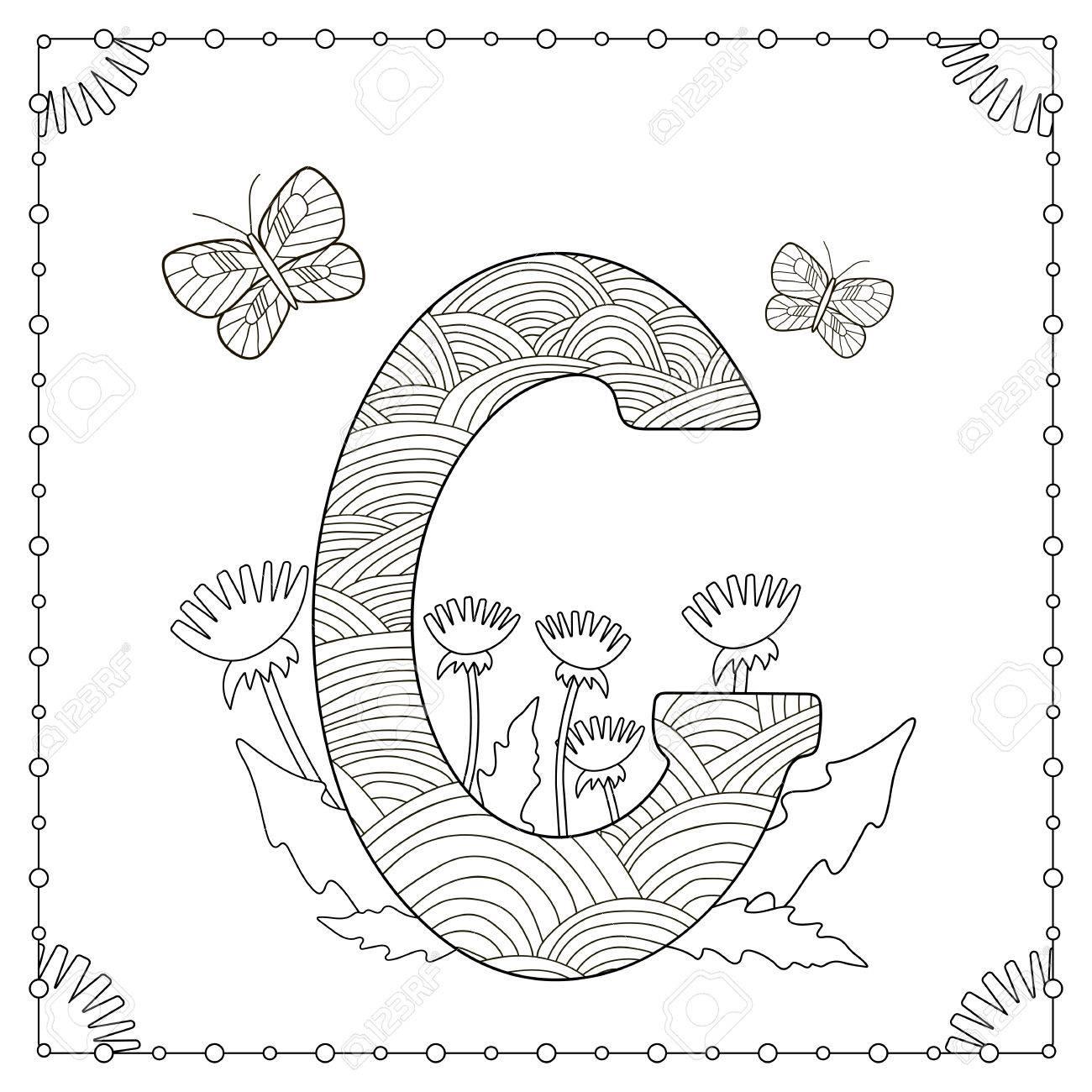 Ausmalbilder Schmetterlinge Blumen : Alphabet Ausmalbilder Gro Buchstabe G Mit Blumen Bl Ttern Und