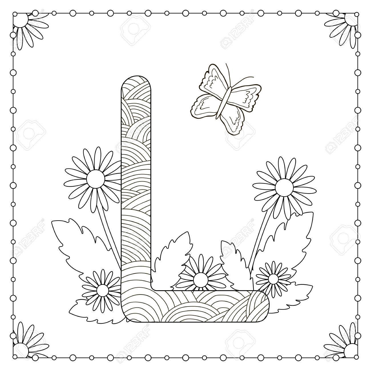Alphabet Ausmalbilder Großbuchstabe L Mit Blumen Blättern Und