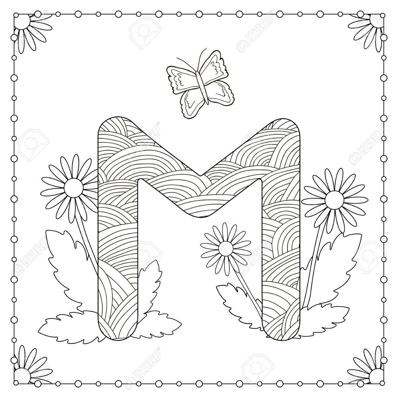 Alphabet Ausmalbilder Großbuchstabe M Mit Blumen Blättern Und