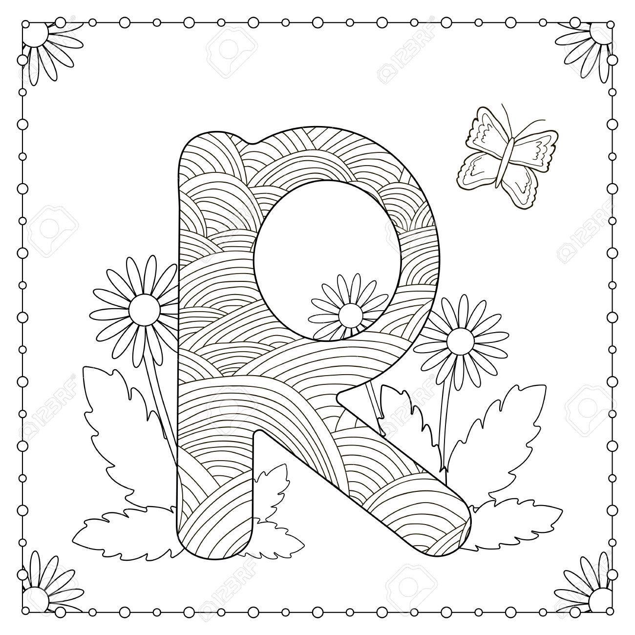 Alphabet Ausmalbilder Gro Buchstabe R Mit Blumen Bl Ttern Und