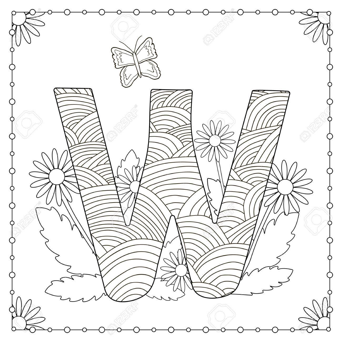 Ausmalbilder Schmetterling Groß : Alphabet Ausmalbilder Gro Buchstabe W Mit Blumen Bl Ttern Und