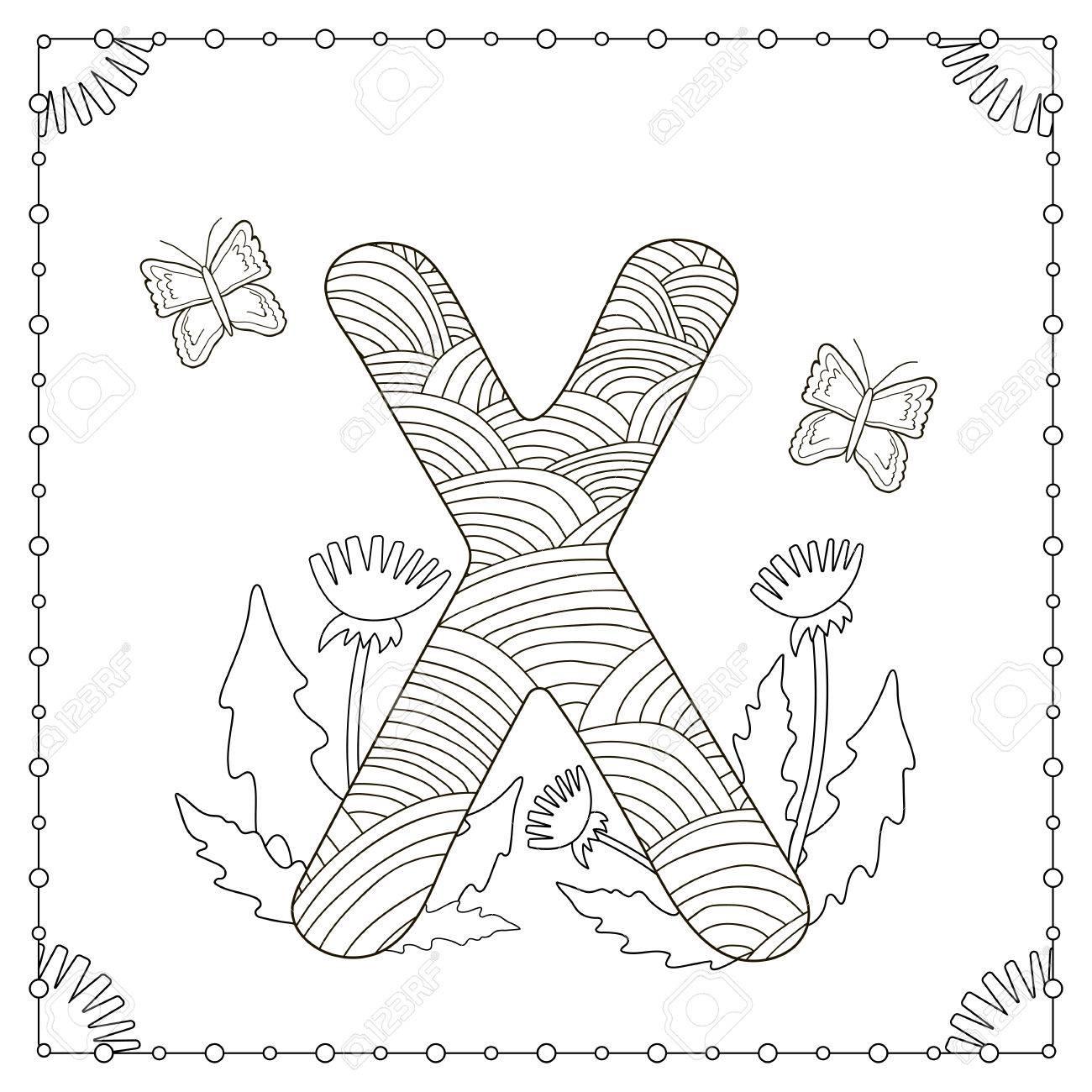 Alphabet Malseite Grossbuchstabe X Mit Blumen Blattern Und Schmetterling Vektor Illustration Lizenzfrei Nutzbare Vektorgrafiken Clip Arts Illustrationen Image 79146809