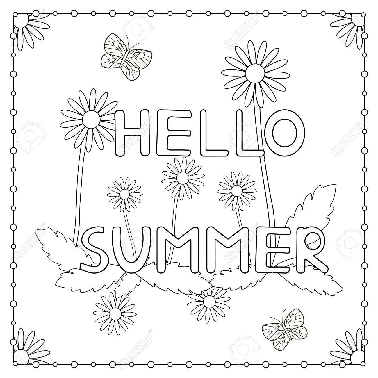 Página Para Colorir A Frase Olá Verão Com Flores E Borboletas Ilustração Vetorial