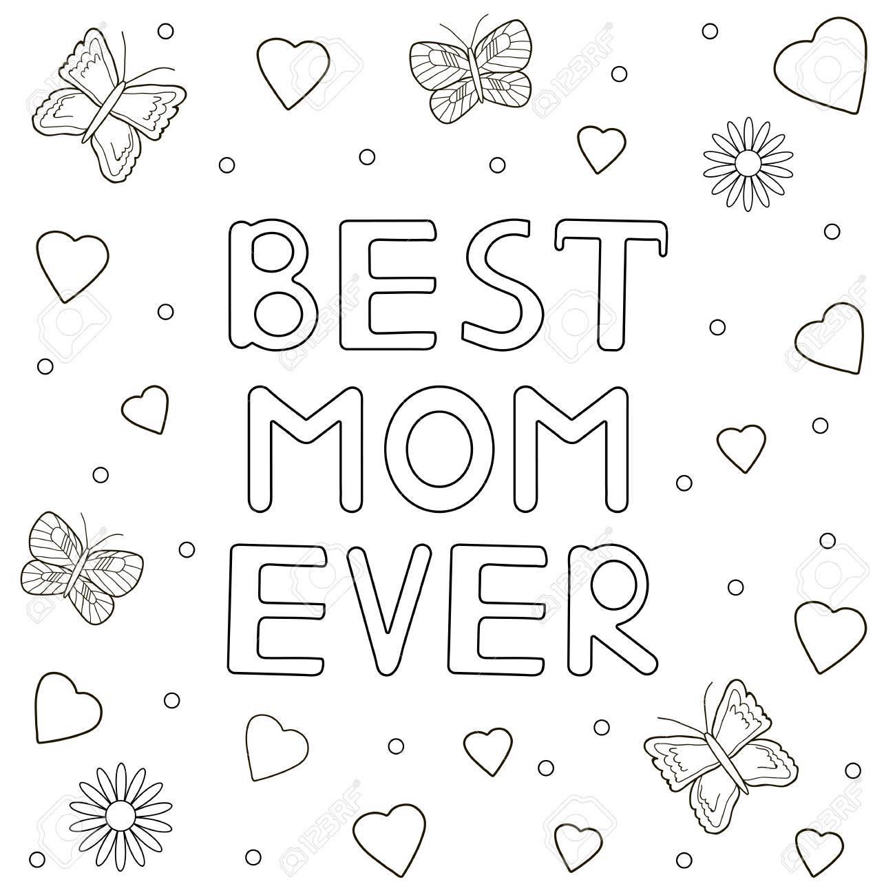 La Mejor Mamá Del Mundo Texto Dibujado A Mano Corazones Mariposas