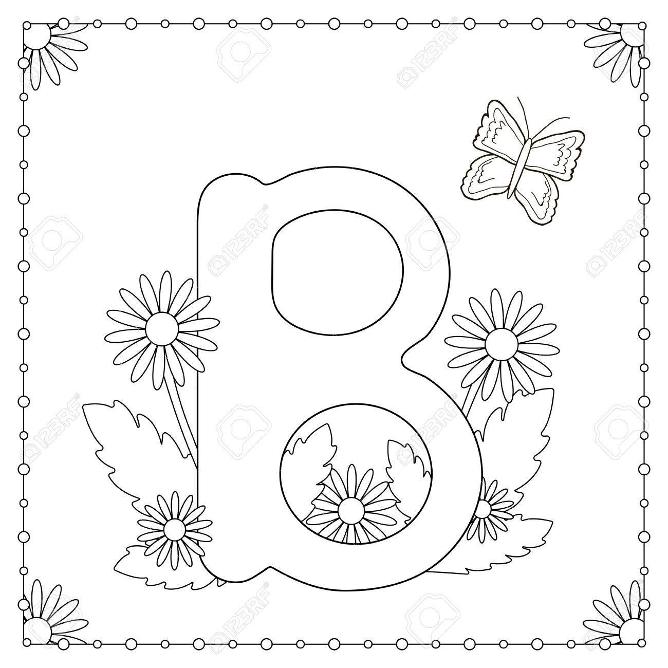 Alfabeto Para Colorear Letra Mayúscula B Con Flores Hojas Y Mariposa Ilustración Del Vector