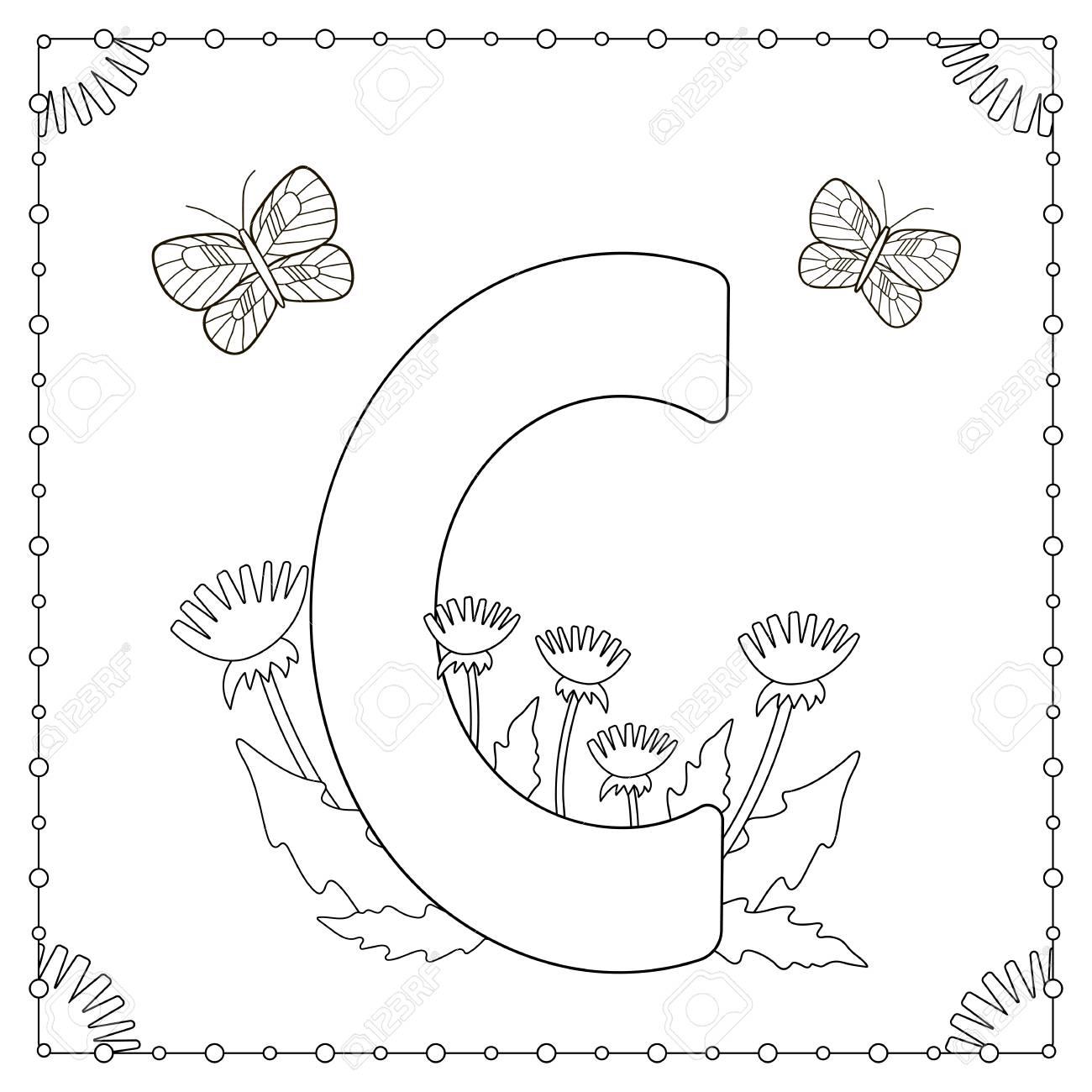 Alphabet Ausmalbilder Großbuchstabe C Mit Blumen Blättern Und