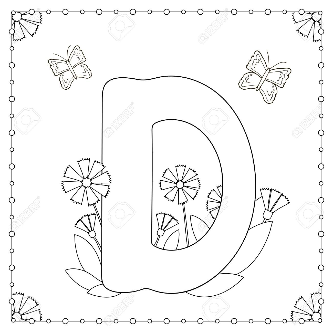 alphabet coloring page capital letter d with flowers leaves and butterflies vector illustration