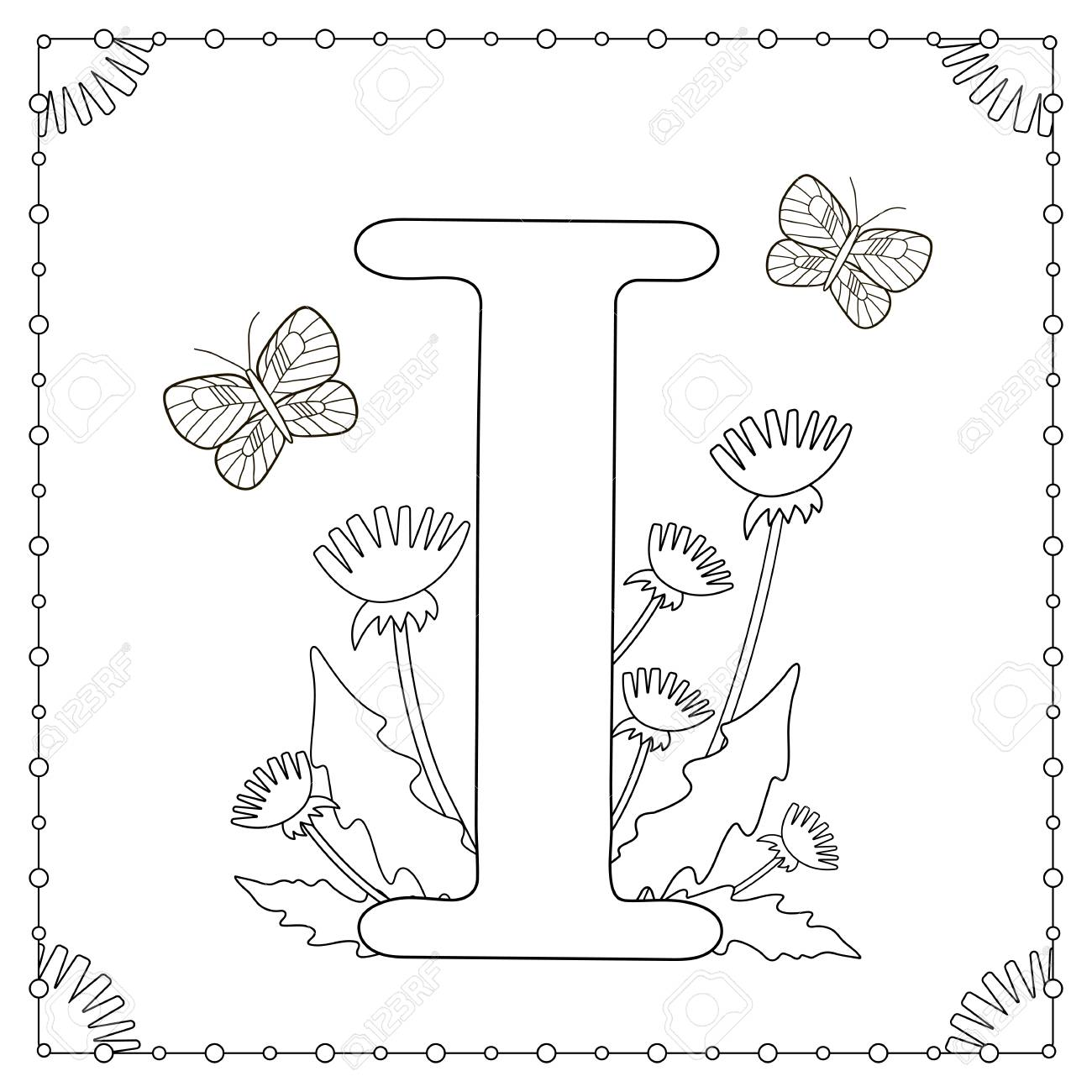 alphabet coloring page capital letter i with flowers leaves and butterflies vector illustration