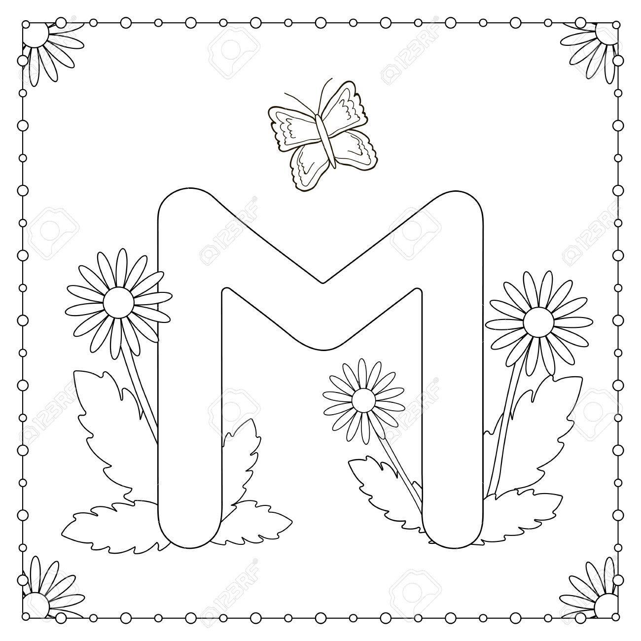 Malvorlagen Zum Thema Alphabet Grossbuchstabe M Mit Blumen Blattern Und Schmetterling Vektor Illustration Lizenzfrei Nutzbare Vektorgrafiken Clip Arts Illustrationen Image 83396762