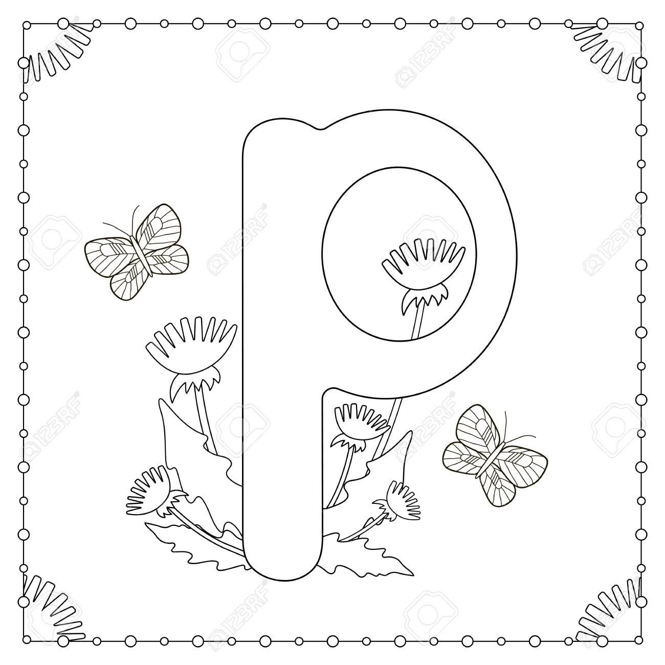 Coloriage Alphabet Fleur.Coloriage Alphabet Lettre Majuscule P Avec Des Fleurs Des