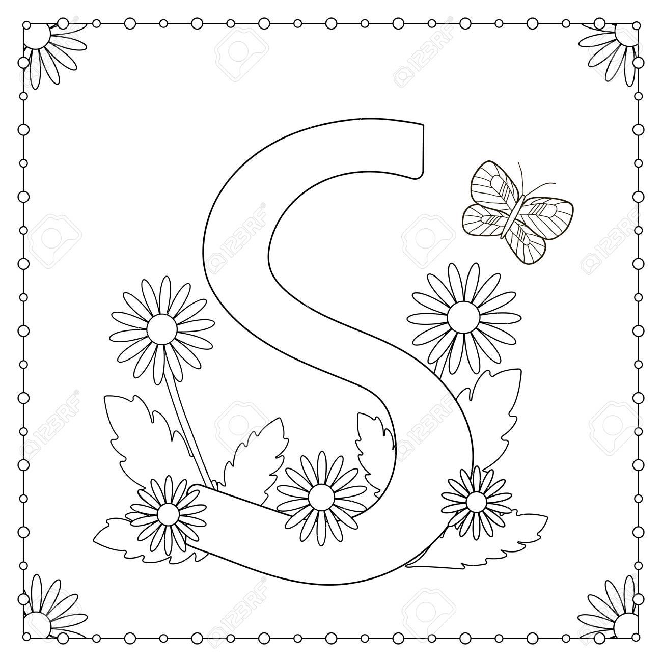 Vettoriale Alfabeto Da Colorare Lettera Maiuscola S Con Fiori