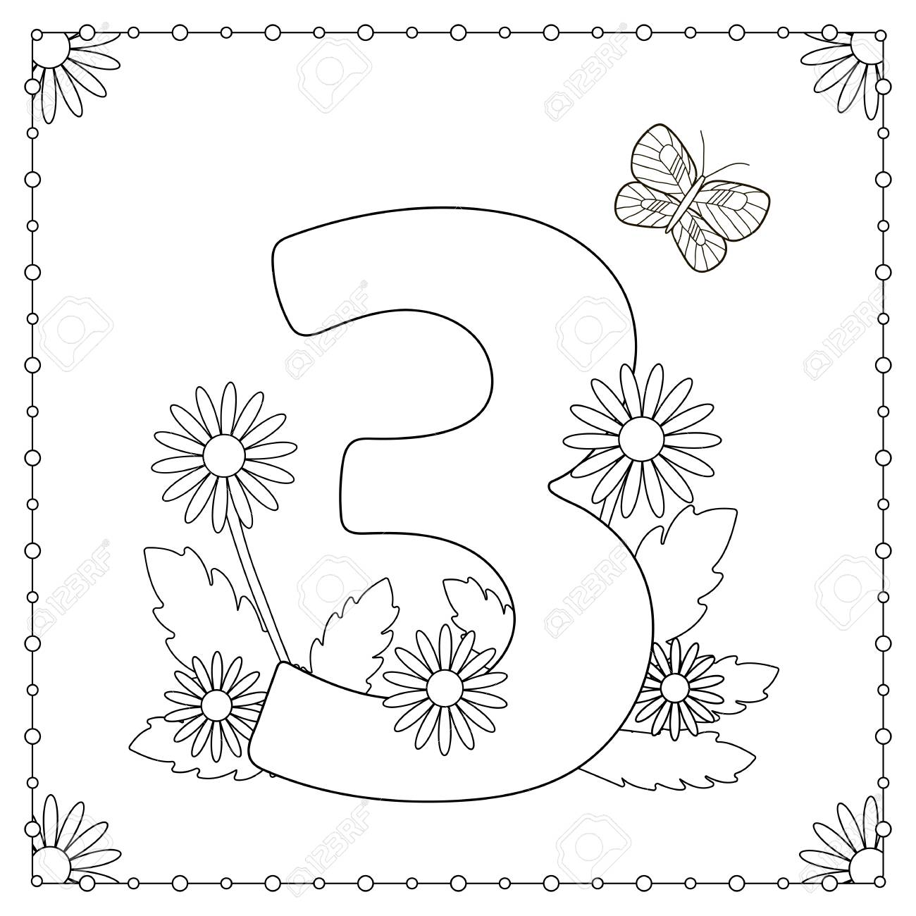 Ziffer Drei Mit Blumen Blätter Und Schmetterling Malvorlage