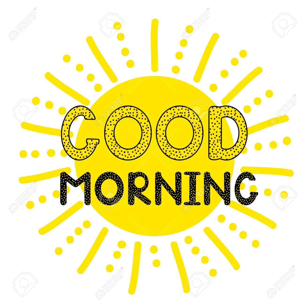 Good morning - handwritten creative text and sun icon  Vector