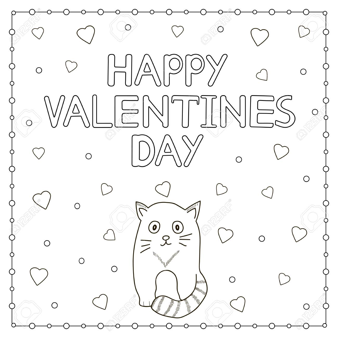 Happy Valentine Day Hand Drawn Text, Cat And Hearts. Coloring ...