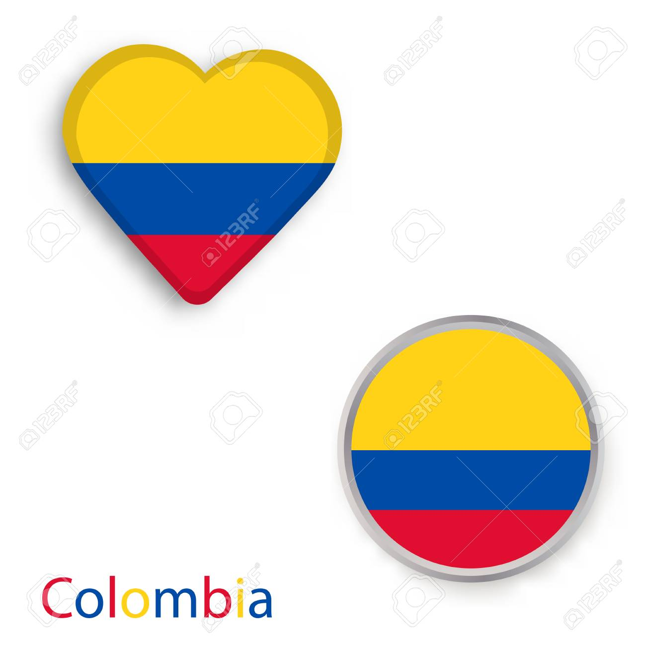 Heart And Circle Symbols With Flag Of Colombia Vector Illustration